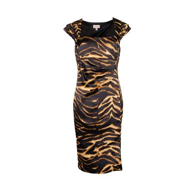 square neck satin animal printed midi dress